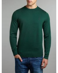 Fred Perry Green Classic Merino Tipped Crew Neck Jumper for men