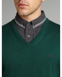 Fred Perry Green Classic Merino Tipped V-Neck Jumper for men