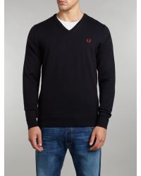 Fred Perry Blue Classic Merino Tipped V-Neck Jumper for men