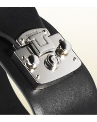 Gucci - Black Leather Bracelet With Lock Closure for Men - Lyst