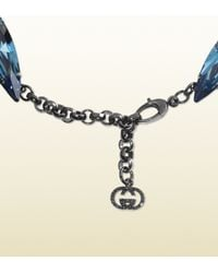 Gucci | Blue Necklace with Crystal Pendants | Lyst