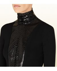 Gucci Black Wool and Python High Neck Top