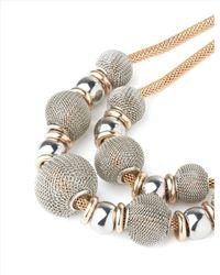 Jaeger Metallic Short Mesh Bead Necklace