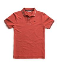 Mango Red Contrasted Trimmings Pique Polo Shirt for men