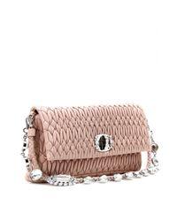 Miu Miu Pink Matelassé Leather Clutch