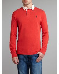 Polo Ralph Lauren Red Classic Custom Fit Rugby Shirt for men