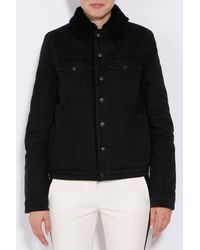 Proenza Schouler Black Shearling Lined Denim Jacket