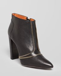 Rebecca Minkoff Black Pointed Toe Booties Dalli Zipper High Heel