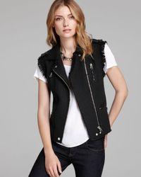 Rebecca Taylor Black Vest Tweed Moto