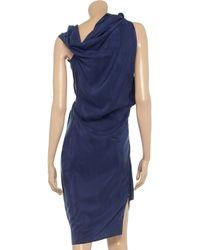 Roland Mouret Blue Bonnie Silkhabotai Asymmetric Dress