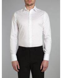 Simon Carter White Paisley Jacquard Slim Fit Shirt for men