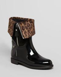 Stuart Weitzman Black Rain Boots Wetlands