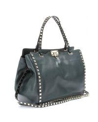 Valentino Blue Rockstud Leather Tote