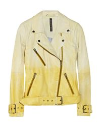 W118 by Walter Baker Yellow Evan Dãgradã Leather Biker Jacket