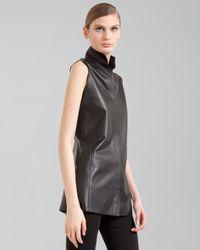 Akris Black Sleeveless Leather Snap Tunic
