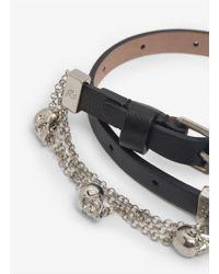 Alexander McQueen - Black Double Wrap Chain Bracelet - Lyst