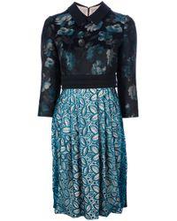 Antonio Marras Blue Floral and Lace Dress