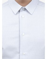 Armani White Slim-fit Patterned Cotton Shirt for men