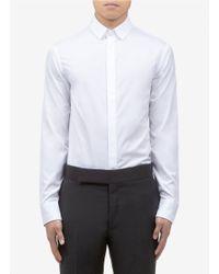 Armani White Slimfit Texturedlapel Shirt for men