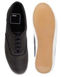 ASOS Black Plimsolls in Leather for men