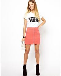 ASOS Pink Mini Skirt In Crepe With Zip Front