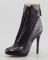 B Brian Atwood Foggla Laceup Leather Bootie Black