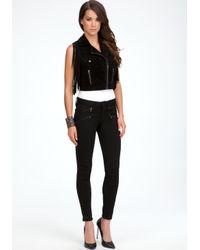 Bebe - Black Leather Moto Jacket - Lyst