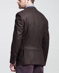 Brunello Cucinelli Glen Plaid Sport Coat Brown for men