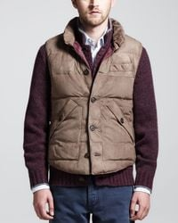 Brunello Cucinelli Natural Quilted Suede Puffer Vest for men