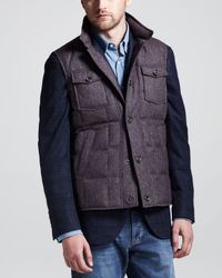 Brunello Cucinelli Purple Donegal Tweed Puffer Vest for men