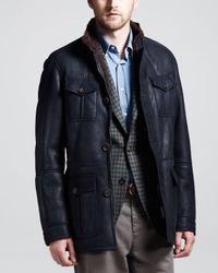 Brunello Cucinelli Blue Spanish Shearling Leather Parka  for men