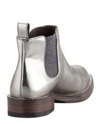 Brunello Cucinelli Gray Pullon Metallic Ankle Boot