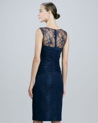 David Meister Blue Sleeveless Lace Illusionneck Cocktail Dress