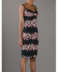 Dolce & Gabbana Black Floral Panel Dress