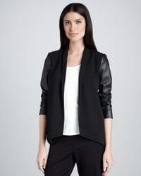 Eileen Fisher Black Tropical Suiting Leathersleeve Jacket Petite