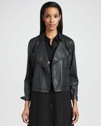 Eileen Fisher Black Waxed Short Moto Jacket