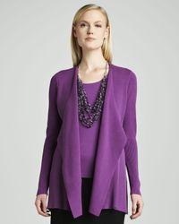 Eileen Fisher Purple Silkcotton Interlock Sweater Jacket