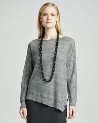 Eileen Fisher Gray Linen Jersey Asymmetric Top