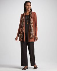Eileen Fisher Natural Long Wool Cardigan Petite
