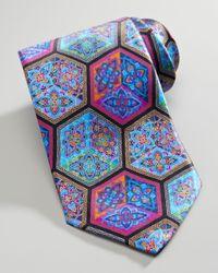 Ermenegildo Zegna Blue Quindici Cubeprint Silk Tie Black for men
