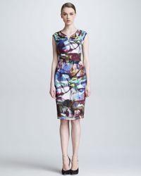 ESCADA Blue Stained Glassprint Dress