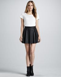 French Connection White July Waxed Pleated Miniskirt