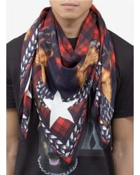 Givenchy | Red Doberman Dog And Tartan Printed Scarf for Men | Lyst