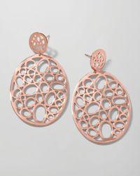 Ippolita Pink Rose Digital Lace Large Circle Drop Earrings