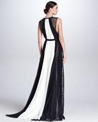 J. Mendel White Colorblock Keyhole Ball Gown Ivoryblack