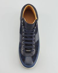 Jimmy Choo Blue Belgravia Leopardprint Hightop Sneaker for men