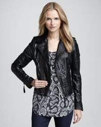 Joie Black Ailey Crocodileembossed Leather Jacket