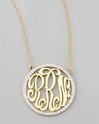 Kacey K - Cutout-Monogram Medium Pave White Diamond Necklace - Lyst