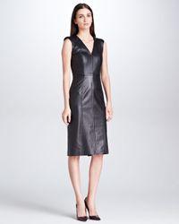 Karolina Zmarlak Princessseam Sleeveless Leather Dress Black