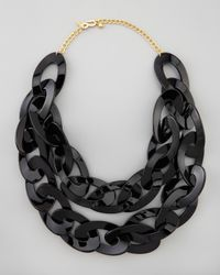 Kenneth Jay Lane | Black Double Strand Enamel Link Necklace  | Lyst